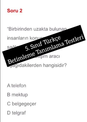 5. Sınıf Türkçe Betimleme Tanımlama Testleri