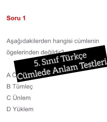 5. Sınıf Türkçe Cümlede Anlam Testleri