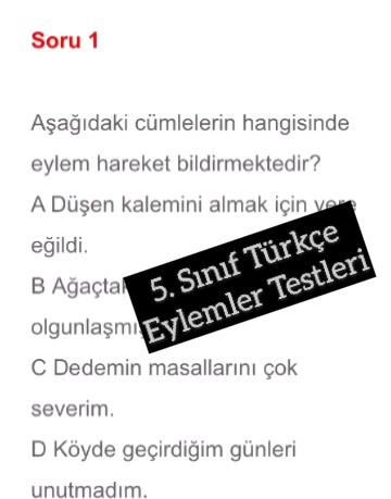 5. Sınıf Türkçe Eylemler Testleri