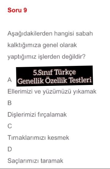 5.Sınıf Türkçe Genellik Özellik Testleri