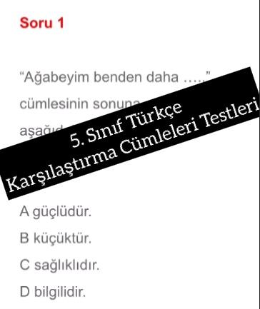5. Sınıf Türkçe Karşılaştırma Cümleleri Testleri