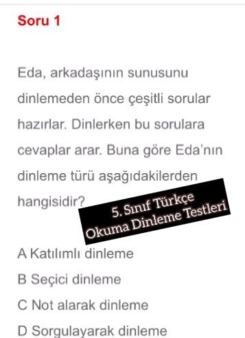 5. Sınıf Türkçe Okuma Dinleme Testleri