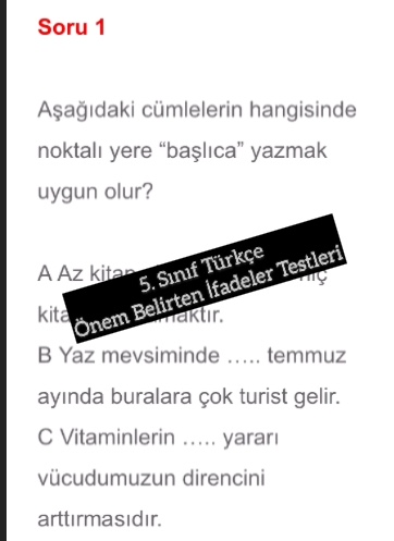 5. Sınıf Türkçe Önem Belirten İfadeler Testleri