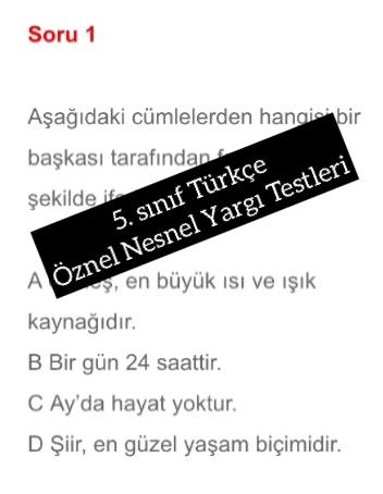 5. sınıf Türkçe Öznel Nesnel Yargı Testleri