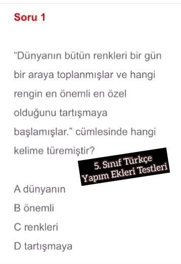 5. Sınıf Türkçe Yapım Ekleri Testleri
