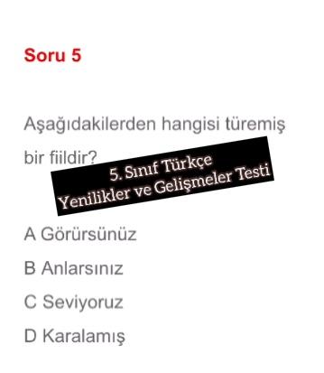 5. Sınıf Türkçe Yenilikler ve Gelişmeler Testi