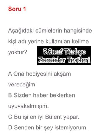 5.Sınıf Türkçe Zamirler Testleri