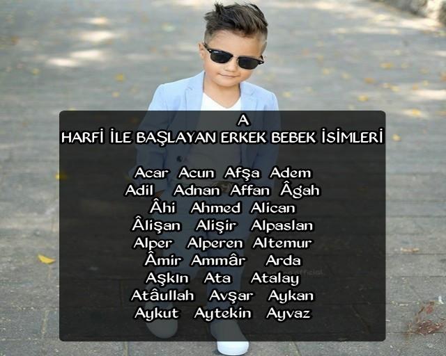 A harfli erkek çocuk isimleri