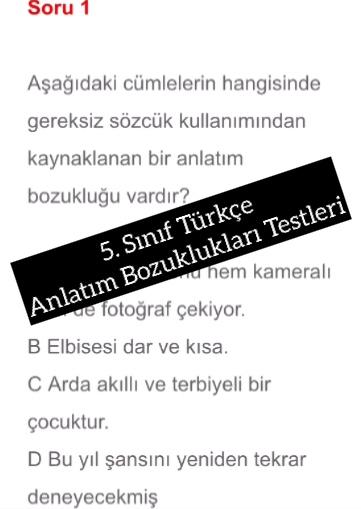 5. Sınıf Türkçe Anlatım Bozuklukları Testleri