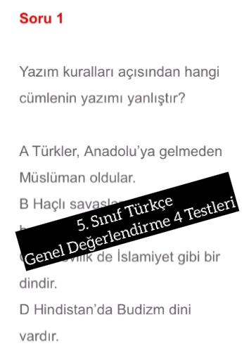 5. Sınıf Türkçe Genel Değerlendirme 4 Testleri