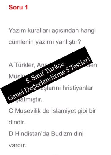 5. Sınıf Türkçe Genel Değerlendirme 5 Testleri