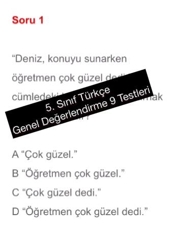 5. Sınıf Türkçe Genel Değerlendirme 9 Testleri