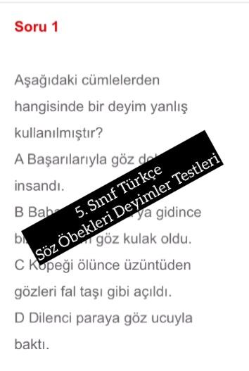 5. Sınıf Türkçe Söz Öbekleri Deyimler Testleri