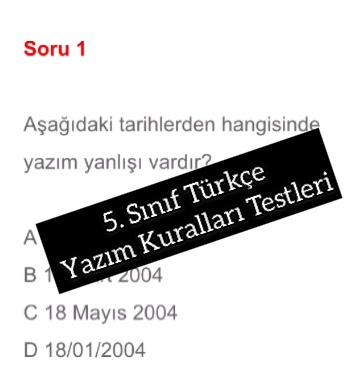 5. Sınıf Türkçe Yazım Kuralları Testleri