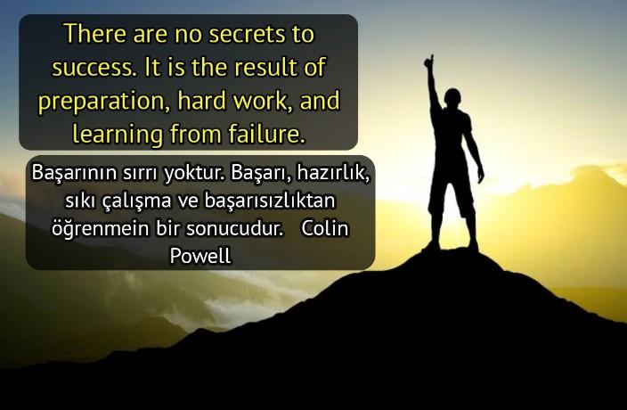 ingilizce Türkçe  Başarı ve Başarılı Olmayı Anlatan Sözleri