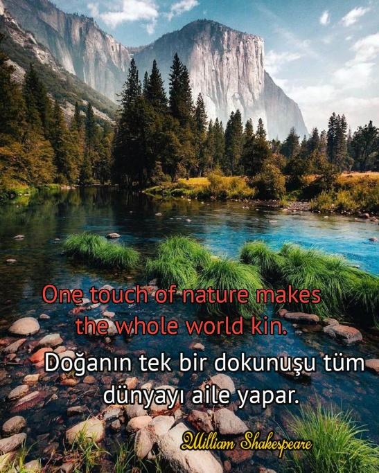 ingilizce Türkçe doğanın önemini anlatan sözler