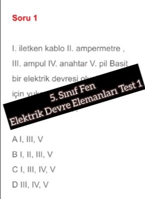 5. Sınıf Fen Elektrik Devre Elemanları Test 1