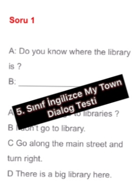 5. Sınıf İngilizce My Town Dialog Testi