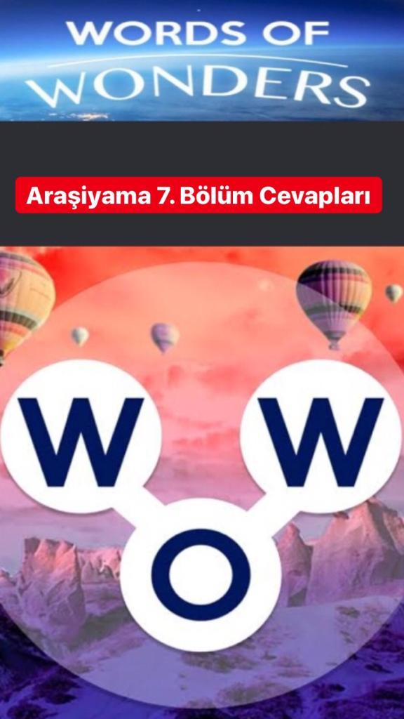 Araşiyama7.Bölüm Cevapları (Wow- Kelime Bulmaca Oyunu)