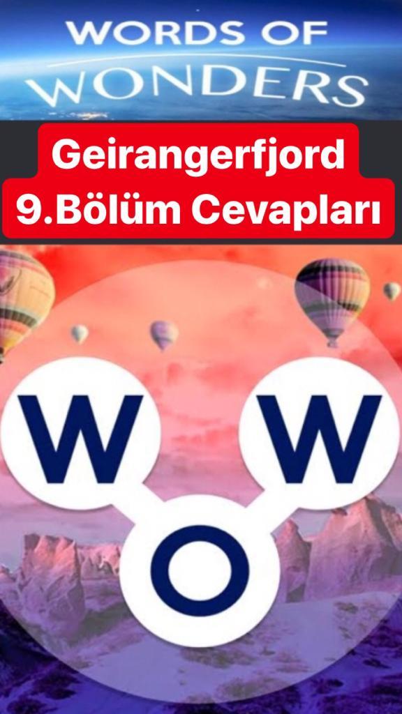 Geirangerfjord 9.Bölüm Cevapları (Wow- Kelime Bulmaca Oyunu)