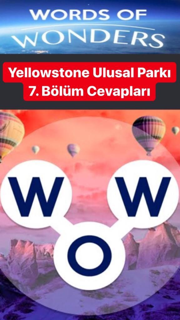 Yellowstone Ulusal Parkı 7.Bölüm Cevapları (Wow- Kelime Bulmaca Oyunu)