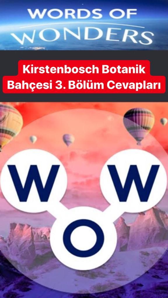 Kirstenbosch Botanik Bahçesi 3.Bölüm Cevapları (Wow- Kelime Bulmaca Oyunu)