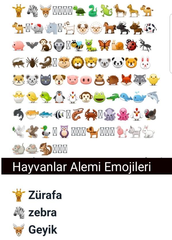 Hayvanlar Emoji listesi