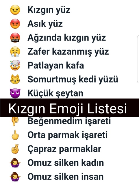 Kızgın Emoji – Mutsuz ,Öfkeli Emoji Listesi