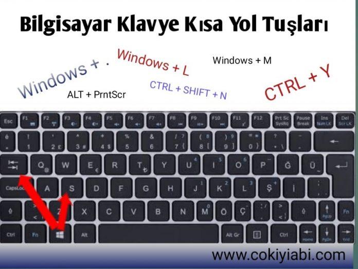 Laptop Klavye kisa Yol tuslari