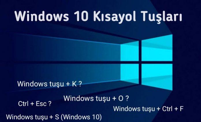 Windows 10 klavye Kısa Yol Tuşları