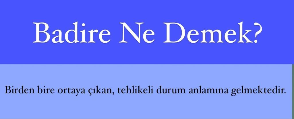 Badire Ne Demek?