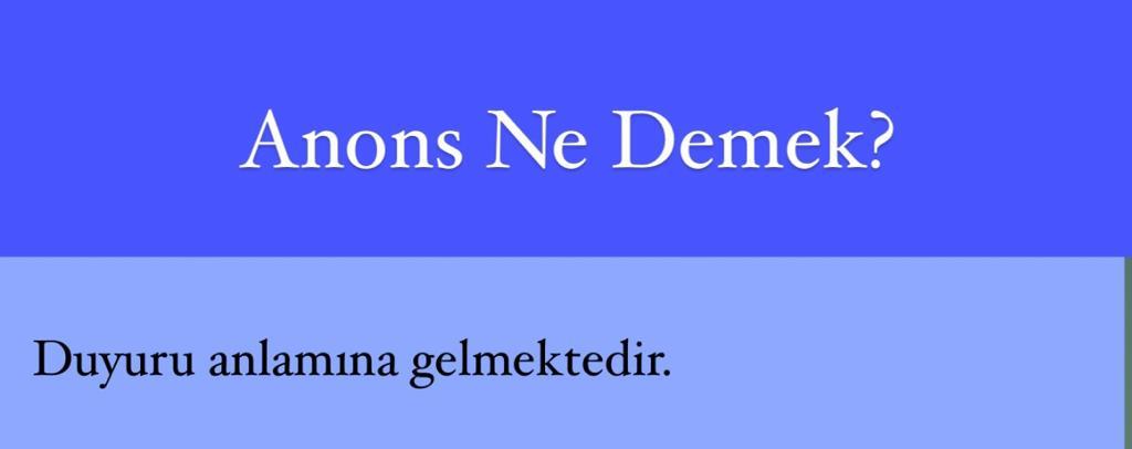 Anons Ne Demek?